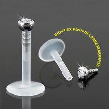 16g Bioflex Monroe / per Labbra With 2mm Trasparente Inserimento a Pressione