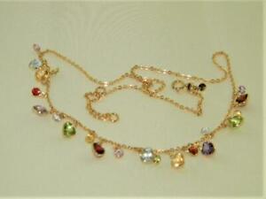 "Alluring 14K Yellow Gold 17"" Lariat Necklace w Multi-Gemstones by Tamara Asher"