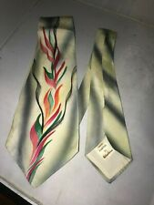 Vintage 1940's-50's Hand Painted Abstract Design Tie Nos w/Tag