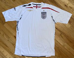 Umbro Official 2007-2009 England Home White Soccer Shirt Jersey Sz. L