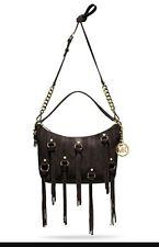 New Michael Kors Presley Coffee Brown Suede Fringe Tassel crossbody shoulder bag