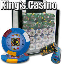 NEW 1000 PC King's Casino 14 Gram Pro Clay Poker Chips Acrylic Carrier Case Set