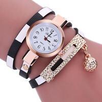 Fashion Women Lady Stainless Steel Leather Analog Quartz Girls Dress Wrist Watch