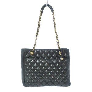 Auth CHANEL Matelasse Black Lambskin Womens Tote Bag Gold Hardware