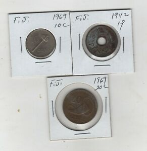 3 Coin Lot. FIJI 1969 10 cent,and 20 cent + 1942 S One Penny Coins.