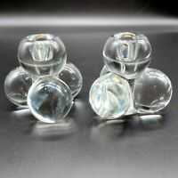 Pair/2 VTG/Mid-Century/MCM Clear Glass Stacked SPHERES/BALL Taper CANDLE HOLDERS