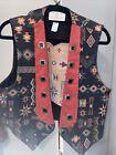 Longhorn by Niver Western Wear Vest Women's Large Aztec-native