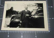 Minister Preacher Pastor w/ Bible Car House Man Visits Vintage Snapshot PHOTO
