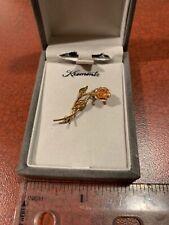 Brooch New In Box Free Shipping Vintage Gold Tone Krementz Mini Rose Pin