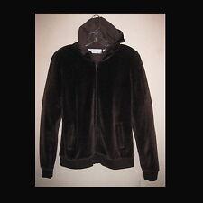 NWT Brown velour hoodie S Zipper Bloomingdales Stretch Jacket Pockets Track Hood