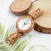 Damen Holz Armbanduhr Holzuhr Quarzwerk mit Holz Armband Passt zu Jedem Anlass