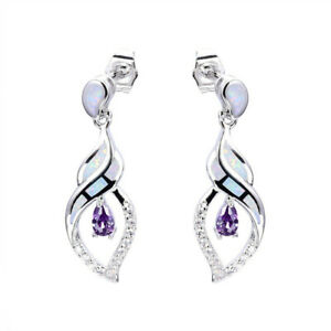 Exquisite Purple simulated Opal White simulated Opal Silver Pendant Earring Jewe