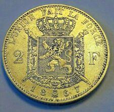 2 Francs, 2 Frank, 1867 Choose Condition Monnaie, Belgique, Leopold II