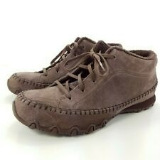 Skechers Sued Leather Oxford Womens Relaxed Fit Bikers Totem Pole Shoe Brown 9.5