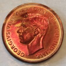 - 1937 Great Britain George VI Half Penny  -  Choice Rainbow Red Toned Proof