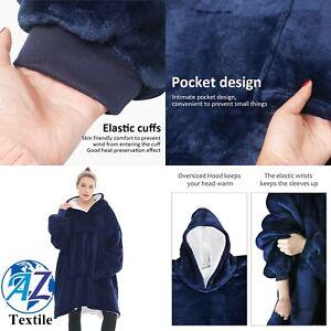 Hoodie Blanket Reversible Oversized Ultra Plush Sherpa Giant Sweatshirt UKSeller