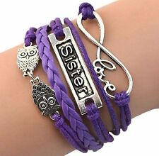 Love Sister Owl Multilayer Purple and Silver Bracelet **XMAS**