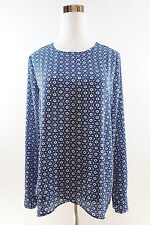 THE LIMITED Convertible Long Sleeve Crew Neck Longer Back Blouse Size S Blue