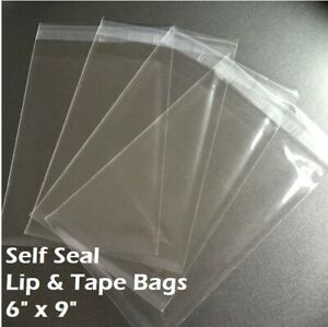 "6"" x 9"" Clear Recloseable Self Seal Adhesive Lip & Tape Plastic Cello Bags"