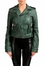 Just Cavalli Women's Distressed Green Full Zip Leather Jacket US S IT 40