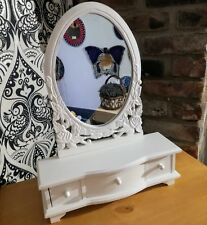Painted Wood Dressing Table Cheval Oval Mirror Shabby Chic