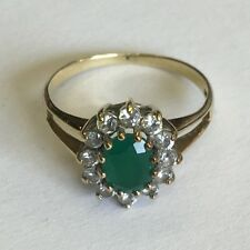 Vintage Solid 9ct Gold Synthetic Emerald And Cubic Zirconia Ring Size K
