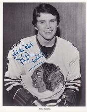 Phil Russell signed Chicago Blackhawks 1970's team issued photo