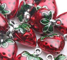 2X Strawberry Shape Loose Beads Tibetan Silver Pendant Jewelry Making Craft Gift