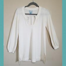 Plenty by Tracy Reese Women's Off White Knit Blouse   Petite   Round Split Neck