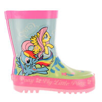 MLP My Little Pony Green & Pink Floral Wellies Wellingtons UK Child Sizes 6 - 12