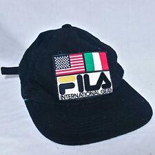 VTG Fila International Gear Strapback Hat 90s Spell Out Big Logo Cap Flag