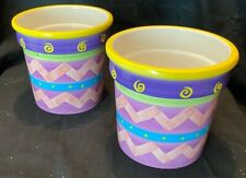 """Purple Stripped Painted Indoor Outdoor 5"""" Tall Plant Flower Pot Set of 2"""