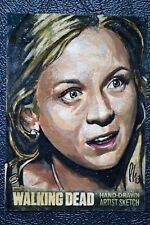 Walking Dead Season 3 Beth Greene Acrylic Sketch Art Lee Lightfoot Trading Card