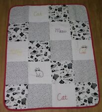 DARLING! CAT THEMED HAND STITCHED PATCH WORK QUIT Throw Quilt With Kitty MEOW