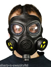 Mens Adult WW2 Black Gas Mask Halloween Fancy Dress Costume Accessory
