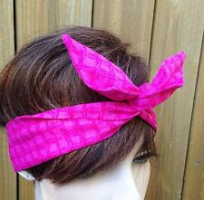 Wire Dolly Bow Hot Coral Print  Bandanna Wire Headband Rockabilly