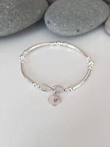 Sterling Silver Infinity Bracelet. Personalised Silver Bracelet. Valentines Gift