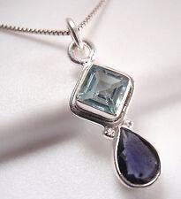 Small Faceted Blue Topaz Iolite 925 Sterling Silver Pendant Corona Sun Jewelry
