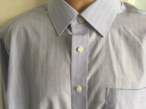 """M & S SHIRT 16"""" PIN STRIPE BLUE & WHITE FRENCH DOUBLE CUFFS COTTON BUSINESS WORK"""