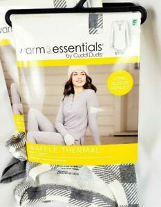 Womens Warm Essentials Cuddl Duds Waffle Long Sleeve Thermal Top Or Bottom Gray