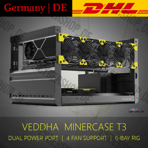 Veddha T3 Open Air 6 GPU Miner Mining Frame Rig Iron Case Crypto Coin ETH BTC