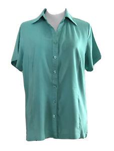 *NWT* Women's Size 14 Jade Green, Short Sleeve Button-Up Work Shirt Blouse