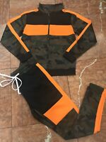 Men's Camo   Orange   Black Fashion Tracksuit