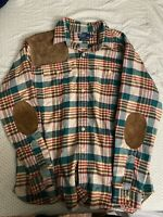 Polo by Ralph Lauren Mens Dungaree Workshirt Plaid Leather LS Button Shirt Sz XL