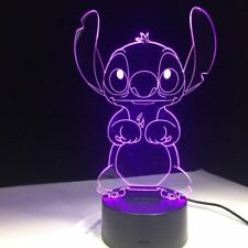 3D Cartoon Stitch Night Light 7 Color Change LED Desk Lamp Touch Room Decor Gift