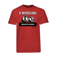 Red 3 Wheeling T-shirt Tee Official 3 Wheeling Around the World Sidecar Racing