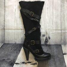 DUNE Genuine Sheepskin Leather Suede Knee High Boots Heel Black 37 4 Shearling