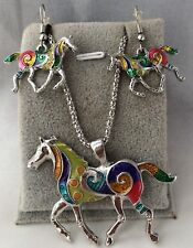 White Gold Plated  Multicolor unicorn Horse Pendant Eearring Set
