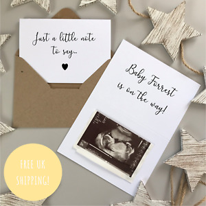 JUST A LITTLE NOTE TO SAY SURPRISE PREGNANCY ANNOUNCEMENT BABY REVEAL CARDS