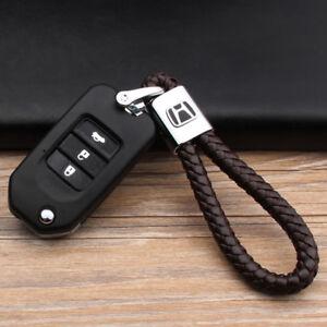 Car Logo Key Chain Fobs Leathe Weave Straps Keyring For Honda Civic Accord CR-V